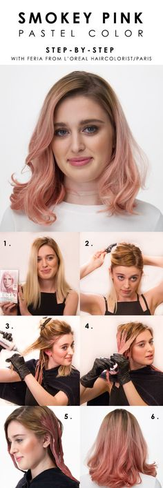 Hair Tutorials : Picture DescriptionHow to color hair pastel pink with L'Oreal Paris Feria Smokey Pastels. Watch Brianna Joy's how-to video for helpful tips and steps on dyeing hair light pink at home. Hair Lights, Light Pink Hair, Pastel Pink Hair, Pastel Hair Tips, Pink Hair Dye, White Hair, Brown Hair, Black Hair, Ombre Rose Gold