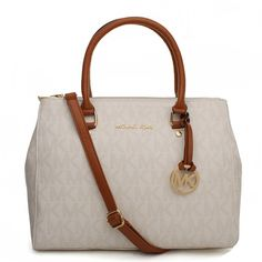 Michael Kors Sutton Logo Signature Medium Ivory Satchels