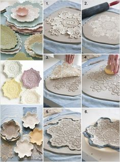 Handicrafts with lace doilies: 50 great decoration ideas to make yourself - Trendswoman Clay Pot Crafts, Polymer Clay Crafts, Diy Clay, Diy Projects For Adults, Diy Crafts For Kids, Daycare Crafts, Easy Crafts, Ceramic Tableware, Ceramic Clay