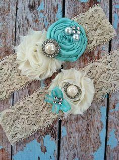 TIFFANY BLUE wedding garter / bridal    garter/