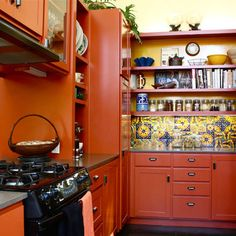 Burnt Orange Kitchen Cabinets autumn haze milk paint, layered with yellow ochre milk paint