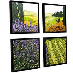ArtWall Allan Friedlander It's Magic 4-Piece Floater-framed Canvas Square Set, Size: 48 x 48, Purple