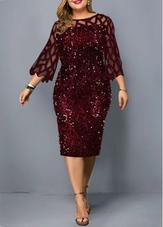 Blue Plus Size Dress Sleeve Sequin Dress New Year Eve Party Dress Plus Size Sequin Detail Mesh Panel Dress Plus Size Cocktail Dresses, Dress Plus Size, Plus Size Party Dresses, Plus Size Holiday Dresses, Plus Size Sequin Dresses, Necklines For Dresses, Dresses With Sleeves, Dresses For Sale, Dresses Online