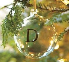 Monogrammable Glass Ball Ornament