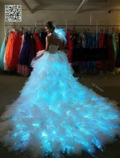 fiber optic dress -for the bride who wants to illuminate the night. Quinceanera Dresses, Prom Dresses, Formal Dresses, Bridal Dresses, Fiber Optic Dress, Beautiful Gowns, Dream Dress, Pretty Dresses, Evening Gowns