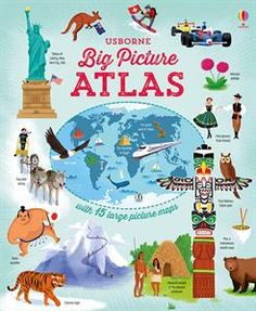 A wonderfully big picture atlas for children to learn the basis of world geography. Lots of busy maps with fun illustrations to learn about the food and culture of other countries as well as capital cities. Putting pictures onto facts helps with memory and this big, satisfying book will help children memorize geography facts with ease.  Ages 4+