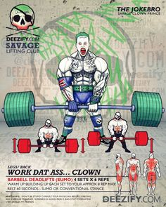 full body exercises: sumo deadlifts with joker