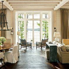Southern Living Best New Home of the Year Lake Martin Bill Ingram Home Living Room, Living Spaces, Kitchen Living, Bill Ingram, Haus Am See, Decor Scandinavian, Lake Cottage, Great Rooms, Modern Farmhouse