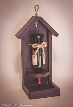 Reclaimed Wood Wine Bottle Bird Feeder