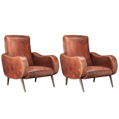 Pair of Leather Lounge Chairs after Marco Zanuso ca.1950, France | From a unique collection of antique and modern lounge chairs at https://www.1stdibs.com/furniture/seating/lounge-chairs/