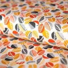 Bavlněná látka Lístečky žluto-oranžové Mimosa