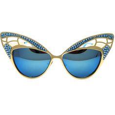 Women's Half Frame Retro Handmade Swarovski Statement Sunglasses NIXIE ❤ liked on Polyvore featuring accessories, eyewear, sunglasses, rhinestone glasses, uv protection sunglasses, lens glasses, retro style glasses and retro glasses