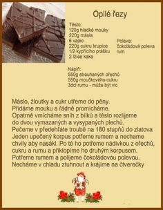 Christmas Candy, Christmas Baking, Christmas Cookies, Czech Recipes, Baking Recipes, Deserts, Food And Drink, Sweets, Rum