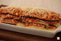 Lasanha de berinjela com recheio de frango Eggplant, Cabbage, Tacos, Low Carb, Mexican, Vegetables, Ethnic Recipes, Health, Food
