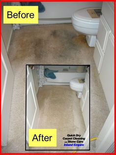Super-impressive before & after bathroom carpet cleaning pics, courtesy of Quick-Dry Carpet Cleaning Inland Empire.
