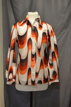 Sunny South Fashions Shirt Polyester See Measurements Vintage Retro No Size Tag #SunnySouthFashions