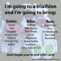 What to bring to a triathlon
