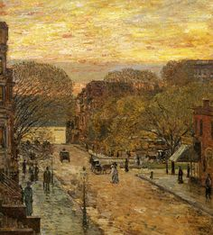 Spring on West 78th Street, Frederick Childe Hassam. American Impressionist Painter (1859-1935)