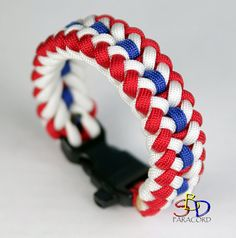 Custom made paracord bracelet in the RED, WHITE, and BLUE!! In the sanctified design, this is a stylish, yet patriotic bracelet!! Show your