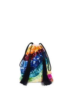 Attico - Georgette Sequin Stripe Pouch Bag
