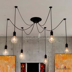 Simple 8 Light Edison Bulb Black LED Multi Light Pendant