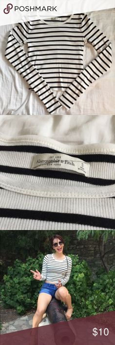 A&F Nautical Striped Crop Top Excellent Used Condition A&F Long Sleeve Black and Off White Striped Crop Top. Size Small. Worn once and laundered. No holes or stains noted. Abercrombie & Fitch Tops Crop Tops