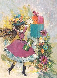 Young Girl Rings Bells Full Dress 1950s Vintage Christmas Greeting Card | eBay