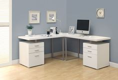 2018 Large White Computer Desk - Best Home Furniture Check more at http://www.shophyperformance.com/large-white-computer-desk/