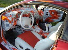 This is insanely wild but I kinda dig it! Custom Car Paint Jobs, Custom Cars, Mitsubishi Eclipse Spyder, Inside Car, Truck Art, Mini Trucks, Amazing Cars, Awesome, Car Painting