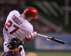 Rookie Phenom Mike Trout of the Los Angeles Angels of Anaheim hits a double against the Minnesota Twins in the third inning at Angel Stadium of Anaheim on April 30, 2012. #MLB #Angels #Baseball #LAA http://www.fansedge.com/Mike-Trout-Los-Angeles-Angels-of-Anaheim-4302012-_1672887381_PD.html?social=pinterest_mlb_5712_trout