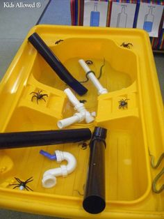 Drainpipes and assorted pretend spiders. Perfect for Nursery Rhyme Week … Nursery Rhymes Preschool, Nursery Rhyme Theme, Nursery Activities, Rhyming Activities, Themed Nursery, Preschool Ideas, Nursery Boy, Nursery Themes, Nursery Ideas