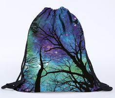 New Arrival Unisex Backpacks 3D Printing Starry Sky Tree Printed Bags Drawstring Backpack Hot Selling Teenage Travel Bag #Affiliate