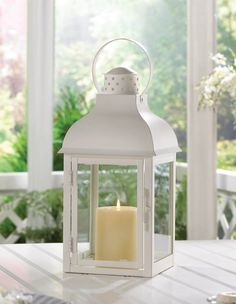 "8 LARGE SOFT WHITE GABLE CANDLE LANTERN WEDDING CENTERPIECES 15"" TALL~10015997"