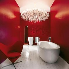 Red Contemporary Small Bathroom Paint Colors