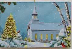 Church Night Snow Cardinals Glittered Christmas Ornament 40s Greeting Card | Collectibles, Holiday & Seasonal, Christmas: Current (1991-Now) | eBay!