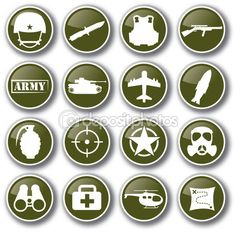Military army icon set vector — Image vectorielle Juliedeshaies © #63526875
