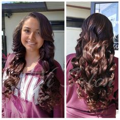 Beautiful Sew In of long flowing curls.
