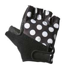 Polka dot cycling gloves! Super cute! Wish they came in wacky colors.