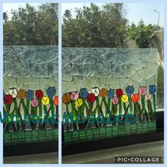 glass mosaic with glass.