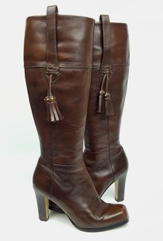 Nine West boots 7.5 M brown leather knee-high with tassels Donnal #NineWest #MidCalfBoots