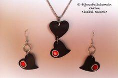 Handmade: Heart shaped jewelry set by Bijouxfaitalamain13 on Etsy