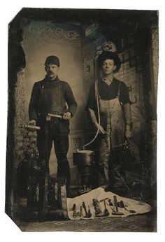 ca. 1860-80's, [occupational tintype portrait of a pair of plumbers with a variety of tools at their feet]