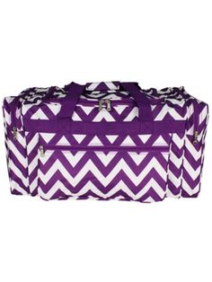 Dark Purple Chevron Duffle Bag