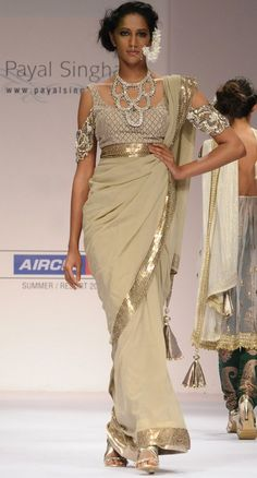 Golden Beige Sari Set with Crystal Necklace    By Best Of Payal Singhal