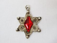 Antique vintage 925 silver filigree pendant Ruby Star of David Handmade #Handmade #Pendant