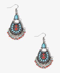 Faux Turquoise Teardrop Earrings #Forever21 #NewFrontier