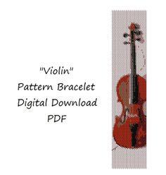 """Браслет """"Скрипка"""". Схема плетения мозаикой . Мгновенная загрузка. Схема в формате ПДФ."""