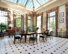 The winter garden at Saint Hill Manor in Sussex, with its rare 1952 Erard grand piano // Home of Scientology founder L. Ron Hubbard