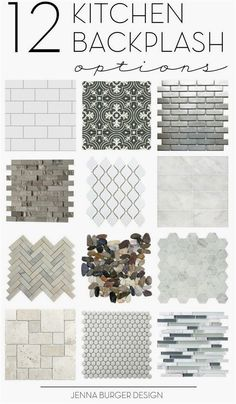How do you choose the perfect kitchen tile backsplash? There are so many decisions. Check out this not-to-be-missed round up of 12 ideal options for the kitchen backsplash. Click over to check them out > www.JennaBurger.com  #kitchenremodeling