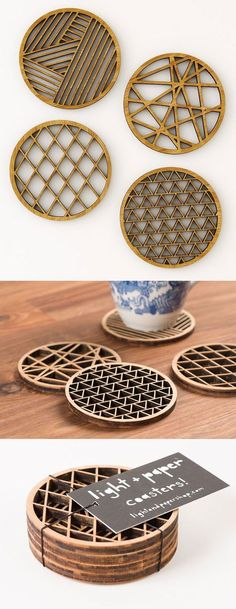 Geometric Designs - Light & Paper's bamboo coasters bring a low-key layer of functional – and protective – artwork to your beverage-bearing surfaces. Each set features four unique, geometric designs based on hand-cut paper designs by artist Ali Harrison. Laser Cnc, Laser Cut Wood, Laser Cutting, Laser Cut Paper, Bamboo Crafts, Wood Crafts, Diy And Crafts, Bamboo Art, Laser Cutter Projects